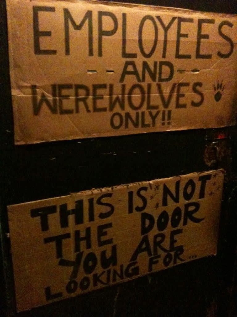 Werewolves Only sign